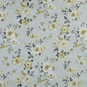 Bowness - Maize - Pretty floral and leaf patterns scattered over 100% cotton fabric in off-white and light, elegant shades of blue and grey