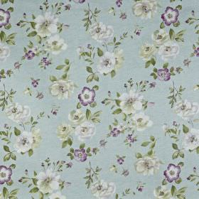 Bowness - Robins egg - Flowers and leaves printed on 100% cotton fabric in white, light grey, rich purple and icy blue colours