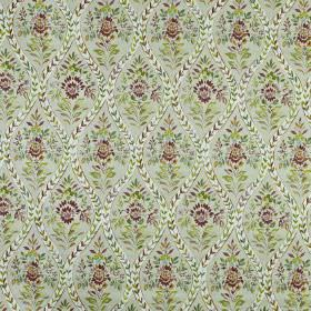 Buttermere - Berry - Very detailed floral, leaf and wavy line patterns printed on 100% cotton fabricin dusky green, wine and grey shades
