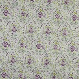 Buttermere - Hollyhock - Fabric made from 100% cotton, printed with patterned wavy lines and busy florals in dark purple and light grey shad