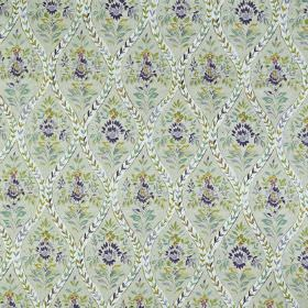 Buttermere - Foxglove - Pretty, detailed flowers and wavy lines printed inlight grey and Royal blue shades on fabric made from 100% cotton