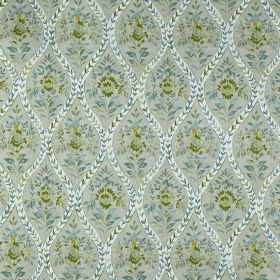 Buttermere - Samphire - 100% cotton fabric printed with patterned wavy lines, flowers and leaves in light shades of grey, green and blue