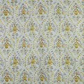 Buttermere - Maize - 100% cotton fabric made in classic gold and light shades of grey, featuring a floral and patterned wavy line print