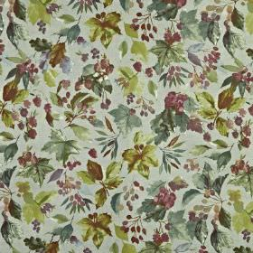 Appleby - Berry - Fabric made from 100% cotton, covered with leaves and berries in muted shades of blue-grey, olive green and dusky purple