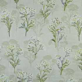 Yarrow - Hollyhock - Light grey fabric made from 100% cotton, with rows of pretty, delicate florals in white, pale grey, lilac and dusky green