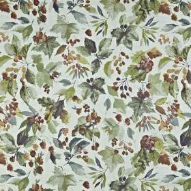 Appleby - Autumn - Dark, dusky shades of red, blue and green making up a berry and leaf print on fabric made from 100% cotton