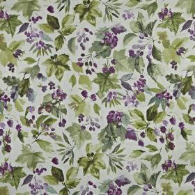 Appleby - Hollyhock - Very pale grey 100% cotton fabric, printed with a rich purple and dark, dusky green design of leaves and berries