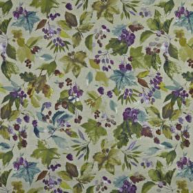 Appleby - Foxglove - Small dark green, dusky blue and rich purple berries & leaves scattered overa light grey 100% cotton fabric background