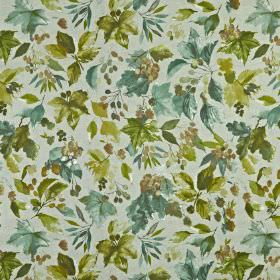 Appleby - Samphire - 100% cotton fabric made in light grey, with fresh shadesof olive green and dusky blue making up a berry and leaf desig