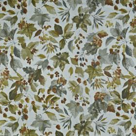 Appleby - Maize - Berries and leaves creating a stylish design on fabric made from 100% cotton in various shades of grey and brown