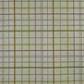 Derwent - Berry - Grey, purple and green-beige horizontal and vertical lines creating a simple checked design on light grey 100% cotton fabric