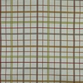 Derwent - Autumn - Light cream, brown and grey shades making up a simple, thin checked design on fabric made from 100% cotton