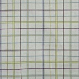 Derwent - Hollyhock - 100% cotton fabric in light grey featuring a simple, thin checked design made in cream, navy purple and grey shades