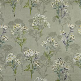 Yarrow - Foxglove - Dark blue, grass green, light grey and white shades making up a pretty, delicate floral pattern on 100% cotton fabric