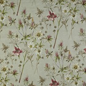 Wordsworth - Berry - Off-white daisies and dusky purple flowers printed with green-grey leaves on a light grey 100% cotton fabric background