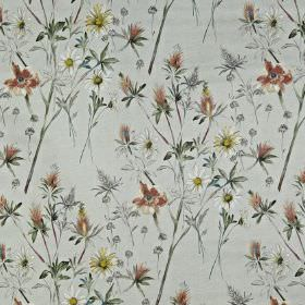 Wordsworth - Autumn - Light, muted shades of grey and red making up awild flower pattern on fabric made entirely from cotton