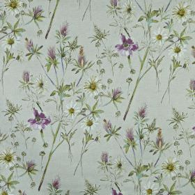 Wordsworth - Hollyhock - Fabric made from 100% cotton, featuring a wild flower and leaf printin off-white, Royal purple and light shades of
