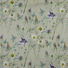 Wordsworth - Foxglove - Dark blue, dusky blue, light grey and off-white fabric made from 100% cotton, featuring a wild flower and leaf patte
