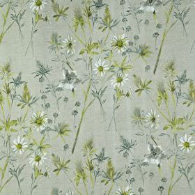Wordsworth - Samphire - Wild flowers and leaves printed on 100% cotton fabric in white and cool, pastel shades of blue and green