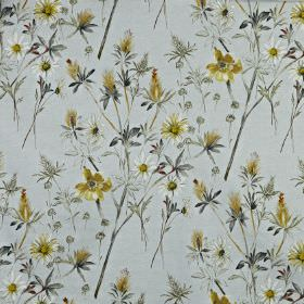 Wordsworth - Maize - Powder blue 100% cotton fabric printed with a wild flower and leaf design in an elegant navy and gold colour palette