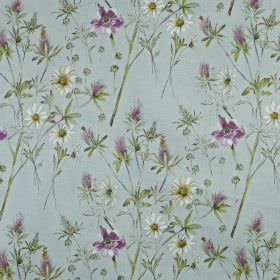 Wordsworth - Robins egg - Pretty, light shades of blue and purple making up a feminine wild flower and leaf design printed on 100% cotton fa