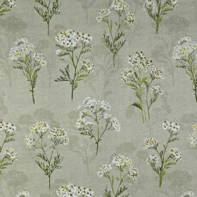 Yarrow - Samphire - 100% cotton fabric printed repeatedly with a pretty, delicate floral pattern in white, dusky green & various grey shades