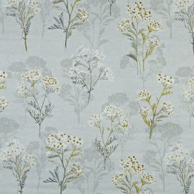 Yarrow - Maize - Elegant, light shades of blue and cream making up a pretty, delicate floral pattern on fabric made from 100% cotton