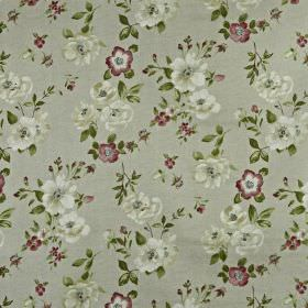 Bowness - Berry - Light grey 100% cotton fabric scattered with small, delicate flowers in grey, off-white, dark green and dark purple