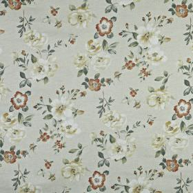 Bowness - Autumn - Muted red, grey and off-white shades making up an understated floral and leaf design on 100% cotton fabric