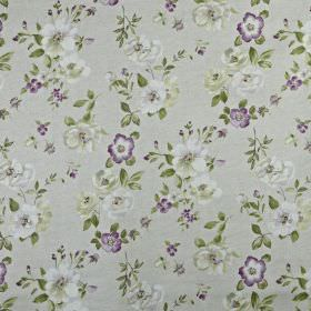 Bowness - Hollyhock - Flowers and leaves printed in very pale grey, green-grey and dark purple on a light grey 100% cotton fabric background