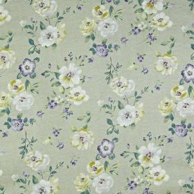 Bowness - Foxglove - 100% cotton fabric scattered with pretty, elegant flowers and leaves with a light, classic blue and cream colour palett
