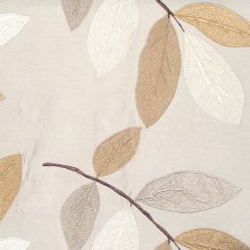 Affection - Cinnamon - Oyster white fabric with modern leaf pattern in autumn brown colours