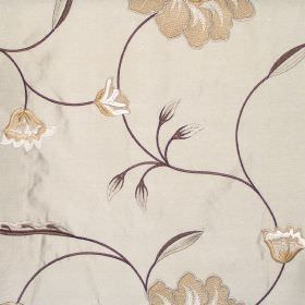 Desire - Cinnamon - Country style floral stitching on cinnamon brown fabric