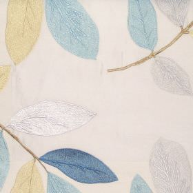 Affection - Azure - Oyster white fabric with modern leaf pattern in autumn brown colours