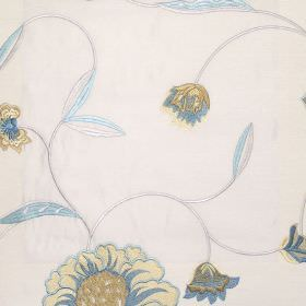 Desire - Azure - Azure blue country style floral stitching on white fabric