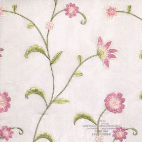 Admire - Rose - Oyster white fabric with modern floral stitching design in rose and green