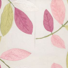 Affection - Rose - Oyster white fabric with modern leaf pattern in autumn brown colours
