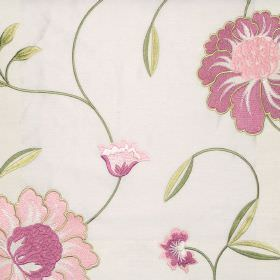 Desire - Rose - Rose purple country style floral stitching on white fabric