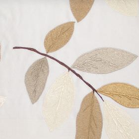 Affection - Oyster - Oyster white fabric with modern leaf pattern in autumn brown colours