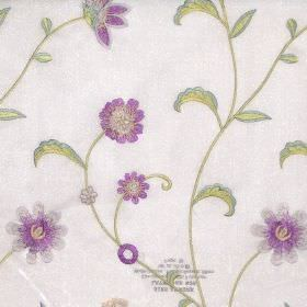 Admire - Lavender - Oyster white fabric with modern floral stitching design in lavender purple and green