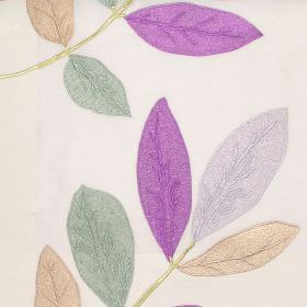 Affection - Lavender - Oyster white fabric with modern leaf pattern in autumn brown colours