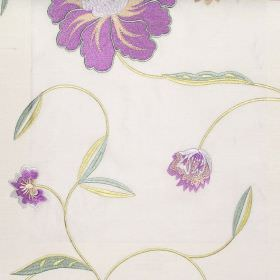 Desire - Lavender - Lavender purple country style floral stitching on white fabric