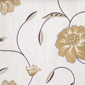Desire - Oyster - Country style floral stitching on oyster white fabric