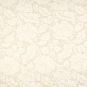 Anastasia - Oatmeal - Ornately patterned polyester, cotton and linen blend fabric in two similar shades of cream