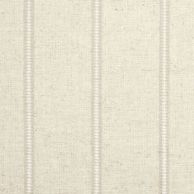 Carmen - Oatmeal - Narrow vertical white stripes separating bands of warm cream coloured fabric made from a blend of different materials
