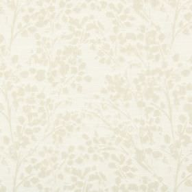 Lilla - Oatmeal - Subtly patterned polyester-cotton-linen blend fabric in two shades of cream, with a design of simple leaves and stems