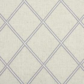Lorenza - Dove - White blended fabric covered in a design of beige diamonds which are edged in dark grey