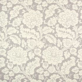 Anastasia - Dove - Fabric made from light grey polyester, cotton and linen, with a busy, ornate leafy and floral pattern in off-white