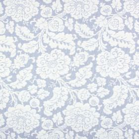 Anastasia - Denim - White and pale blue coloured polyester-cotton-linen blend fabric with a busy, leafy, ornate floral pattern