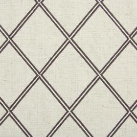 Lorenza - Sable - Blended fabric featuring a design of cream coloured diamonds edged in dark brown